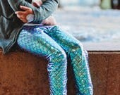 Girls Mermaid leggings Baby Toddler Turquoise Blue and purple metallic Birthday fish scale pants 3 6 12 18 24 months 2T 3T 4T 5T 6 7 costume