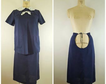 Vintage 1960s Maternity Skirt and Blouse / Lady in Waiting / Navy Blue Polka Dots / Maternity Suit