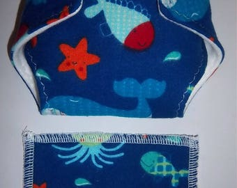 Baby Doll Diaper/wipe - bright and colorful fish and underwater sea life on navy - adjustable for many dolls such as bitty baby