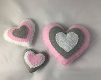 Pink, Gray, and White Hearts Magnet Set- 3 pieces