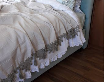 Bedspread Super King, oversized queen Bed spread handmade tassel crochet lace edge bedding-oatmeal Neutral Turkish linen coverlet blanket