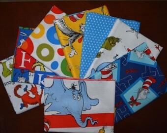 Fat Quarter Bundle of 8 of Celebration & The Cat in the Hat by Dr. Seuss Enterprises