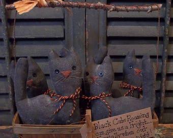 Gathering of Prim Handmade Black Cats in Vintage Wood Berry Basket - Halloween