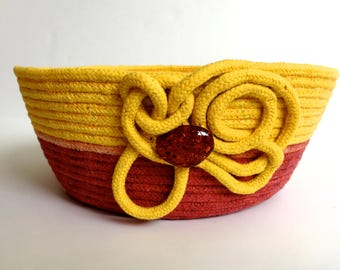 Hand Dyed Clothesline Basket  Repurposed Coiled Rope Bowl  Handmade Fiber Art Organizer  Cotton Candy Basket  Gold and Rust Fruit Bowl