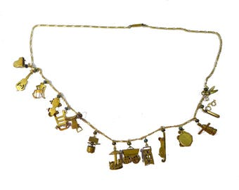 "Antique Gold Washed Articulated Charm Necklace 25"" Long w/ 15 Charms #2370"