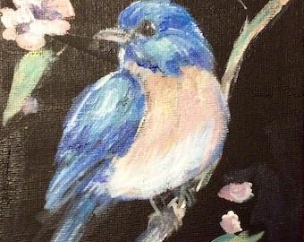 "Bluebird painting original art 7 x 5"""