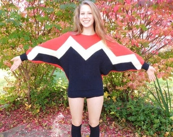 Birthday Sale Incredible Vintage 80's Mod Bat Wing Sweater