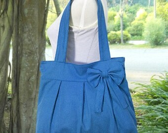 On Sale 20% off blue cotton fabric purse / tote bag / shoulder bag / hand bag / diaper bag / bow- zipper closure