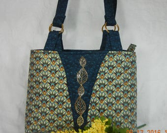Quilted Shoulder Purse - Zip Closure and Pocket, Blue and Metallic Gold - Medium