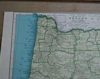 State of Oregon Map Print Vintage