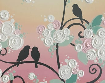 "Mint Green and Peach Birds on a Branch, Original Painting on Canvas, 16x20"" Ready to ship"