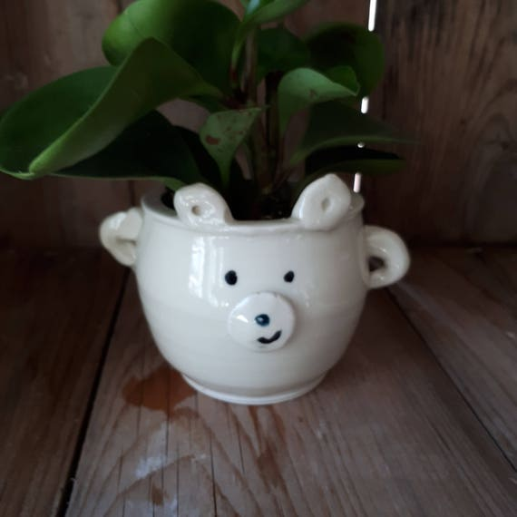 Pottery polar  Bear planter small bowl cup with handles, kids cup,  catch all  boho perfect for airplants or succulents great grad gift