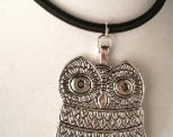 Vintage Silver Owl Pendant Necklace
