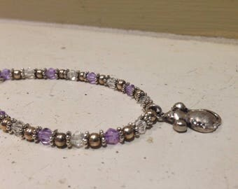 Rat Charm Bracelet Lavender and Clear Crystals