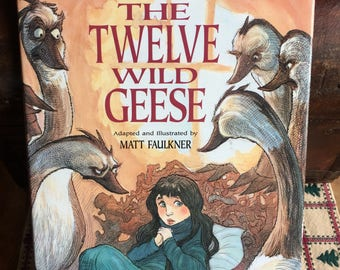 Vintage 1990s Picture Book - Twelve Wild Geese by Matt Faulkner First Printing - Vintage Picture Book - Color Illustrations  Children's Book