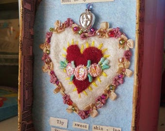 Framed Detentes Corazon Sacred Heart Mary Star of The Sea Embroidery Slow Stitching