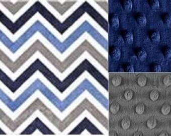 Baby Boy Minky Blanket/Blue Gray Chevron Minky Blanket/Baby Gift