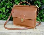 Vintage Coach Messenger Bag • Coach Leather Bag • British Tan Leather Satchel • Italy Style 9927