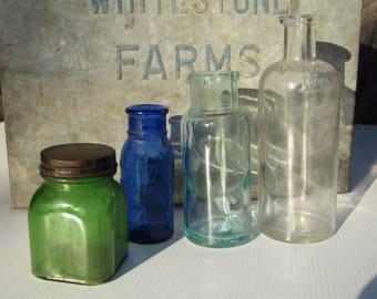 Antique Glass Bottles // Apothecary Bottles Ink Jar // 1800s Old Medicine Bottles