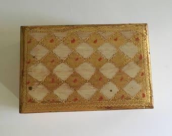 Vintage Florentine box, Made in Italy trinket box, wooden trinket box, vintage shelf decor, desk accessory box, desk decor, vintage storage