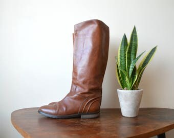 Leather Tall Boots Size Womens Vintage Brown Autumn Fall Boots