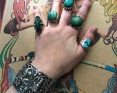 50's Vintage Jade Green Gemstone Sterling Ring Mexico size 8