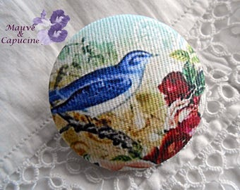 Fabric button, printed bird, 1.57 in / 40 mm in diameter
