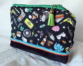 Multicolored fabric pouch
