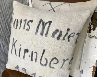"""1910 - pair of reconstructed vintage grain sack pillow covers 17""""x17"""""""