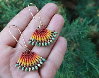macrame earrings, tribal earrings, colorfull earrings, fan earrings, boho earrings, turquoise and gold earrings, ethnic earrings, makrame