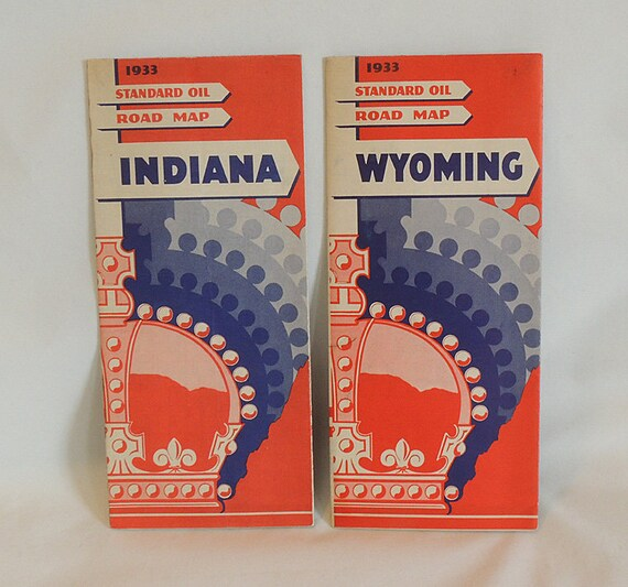 2 Vintage 1933 Dated Standard Oil Co Road Map.. Indiana & Wyoming.. VG