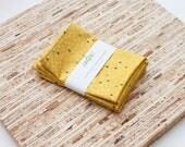 Small Cloth Napkins - Set of 4 - (N6051s) - Yellow Mustard Rain Droplets Modern Reusable Fabric Napkins