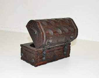 Vintage 1960's Jewelry Box Wooden Chest with Studs