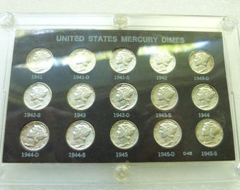 Collection of 15 Old Silver Mercury Dime Coins Free Shipping
