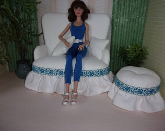 1:6 Sofa Set for Blythe, Fashion Royalty, Silkstone Barbie