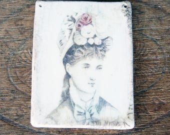 UNIQUE Decal Polymer Clay Pendant French 19th Century Fashion Image Hairstyle Bonnet