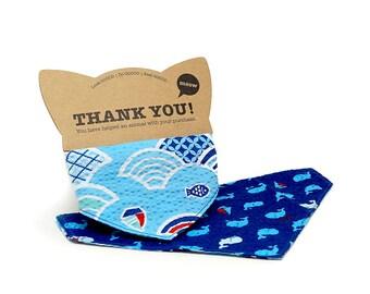 GOOOD Cat Collar   Reversible Scarf - Meowi Aquarium   100% Blue Cotton Fabric   Safety Breakaway Buckle