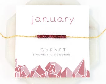 Inspirational January Birthstone Necklace, Garnet Necklace Gold, Healing Gift, Birthday Present, Gemstone Bar Necklace, Gift for Best Friend