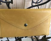 "Vintage 80's ""YELLOW LEATHER WALLET""  with Coin Purse & Checkbook Holder - Multiple Compartments"