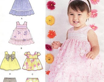 Sz XXS - L  Simplicity 1471 - Babies' Dress, Top And Bloomers