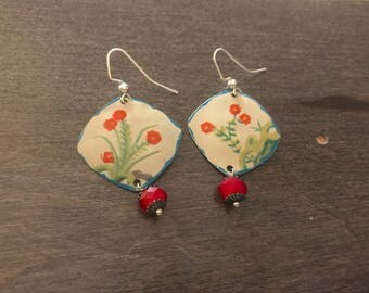 Reclaimed Red Floral Tin Earrings