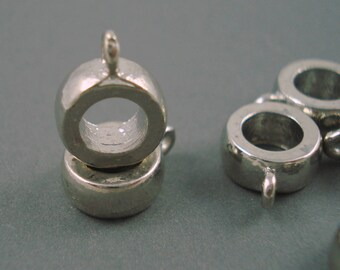 Destash Silver Tone Bail Bead with 5MM Inside Diameter FIVE Pieces