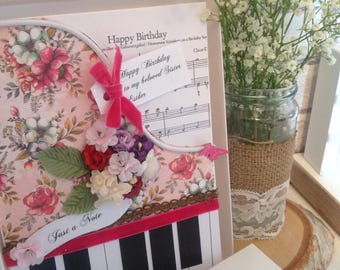 Handmade Birthday Card Luxury Piano Shaped, Female/Male/Handmade/Piano/Cards