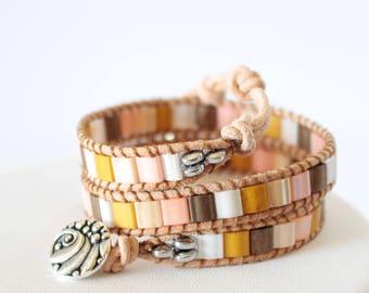 Beaded 2 Wrap Bracelet, Bead Jewelry, Beaded Bracelet, BeadXS, Leather Bead Bracelet, Wrap Bracelet, For Her, Gift, Beads, Boho Jewelry