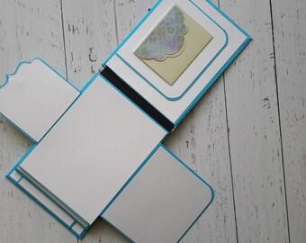 Art Journal, Blank Journal, Mixed Media Journal, Interactive Art Journal, Watercolor Journal, Handmade Journal, Blue Art Journal
