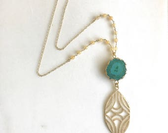 Long Teal Geode Slice Necklace with Peach Jade Stones.  Unique Long Boho Style Necklace. Long Layering Stone Necklace.
