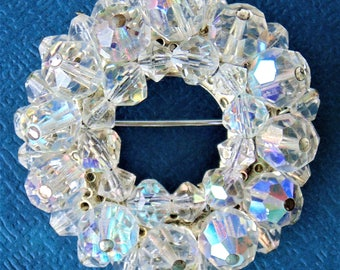 Round Donut Shaped Clustered Aurora Borealis Faceted Rhinestone Crystal Brooch