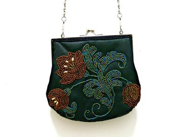 Vintage Beaded Shoulder Bag - Black Silk Purse with Floral Beads and Silver Tone Link Chain