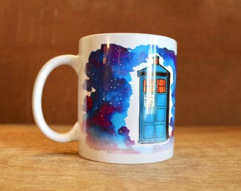 "Doctor Who ""Good cup of tea"" Tenth Doctor Ceramic Mug - Heat-Press Sublimation of Original Watercolor Artwork - TARDIS in space"