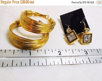 SALE Gold earrings Hoops and Dangles set of 2 Vintage Wire Mod hoops Gold & Rhinestone dangles